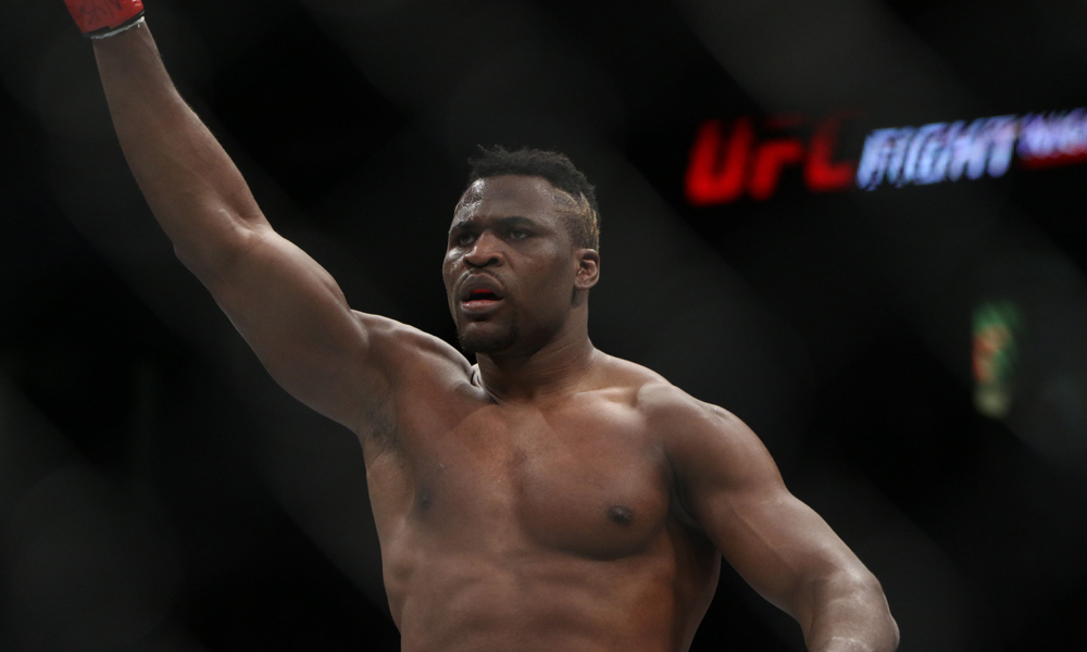 Dec 9, 2016; Albany, NY, USA; Francis Ngannou (red gloves) gestures in a fight with Anthony Hamilton during UFC Fight Night at Times Union Center. Mandatory Credit: Michael Adamucci-USA TODAY Sports